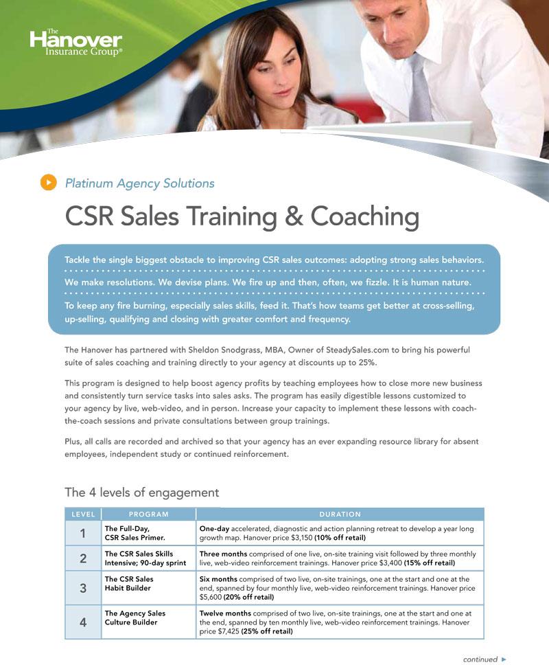 Hanover Platinum CSR Sales Training with Sheldon Snodgrass of steady sales